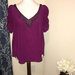Rebecca Taylor Ruched Puff Sleeve Silk Blouse